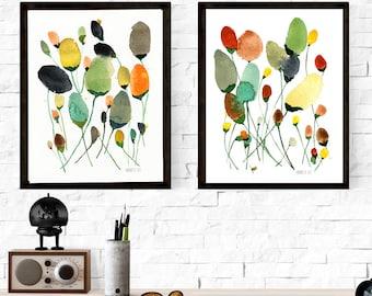 Modern minimalist flower artwork. Floral art print. Meadow flower wall art. Set of 2 botanical art prints. Watercolour paintings art prints
