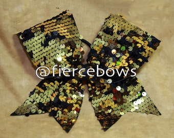 Black and Gold Reversible Sequin Cheer Bow