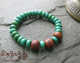 Turquoise and Bodhi bead purified & blessed mala