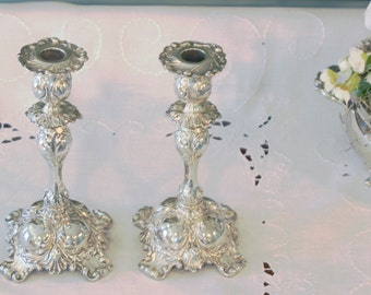 Antique Pairpoint Silver Plate Candlesticks - Pair of Silver Plate Candlesticks - Rococo Style Candlesticks