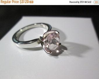 Rose Quartz size 6 Silver ring 925 Sterling - R10