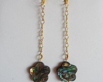 Double Sided Abalone Shell Drop Earrings