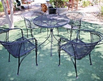 Vintage Mid century Five piece Iron Patio Set art deco theme Insured safe Nation Wide Shipping Available