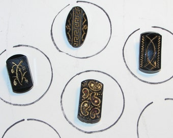 Lot of Four Antique Victorian Rectangular Old Black Glass Buttons with Gold Gilded Designs