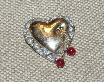 """Adorable, Vintage Gold Tone Heart Brooch with Peripheral Rhinestones and Two Red Beads on Chains - Signed """"CORO"""""""