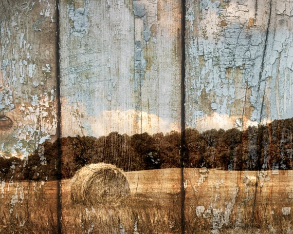 Rustic modern farmhouse home decor wall art brown blue matted for Country wall mural