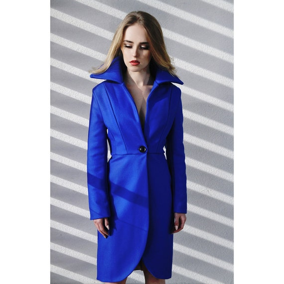 women cobalt blue wool coat women knee length coat straight