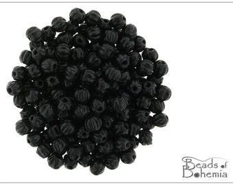 100 pcs Jet Czech Glass Melon Beads 3 mm (10067)