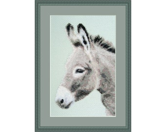 Cross stitch kit Determined Spirit, donkey, grey, farm, animal