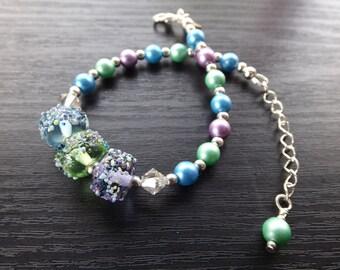 Blue, Green and Purple Lampwork Bracelet