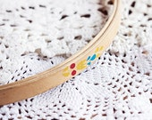 Vintage rare wooden embroidery hoop with painted pattern, 1970s, inner diameter 24 cm/9.5'', retro embroidery, sewing, wooden ring