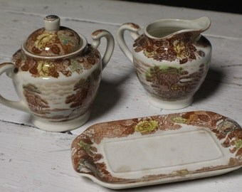 Nasco Mountain Woodland Cream and Sugar, Vintage Cream and Sugar by Nasco