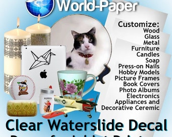 Waterslide Decals for Inkjet (clear) 8.5x11 (PACK OF 1, 3, 5, 10 SHEETS)