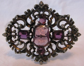 """Ornate Art Nouveau Amethyst Purple Rhinestone Brooch or Sash Pin, Openwork Scrolled Plated Metal, Large, 2 & 5/8"""" by 2 and 1/4"""", Antique"""