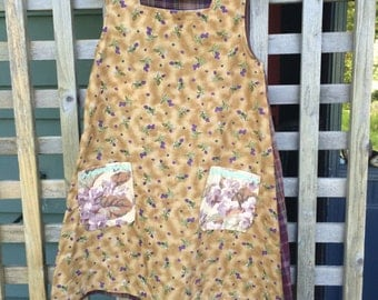 Vintage fabric recycled handmade one of a kind girls dress size 8 - 10
