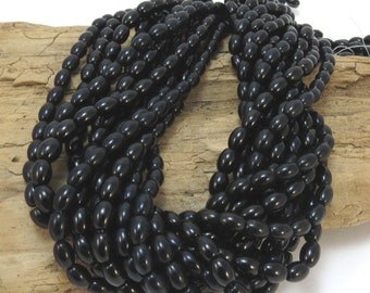 Black Obsidian Beads, Designer Quality, Natural Black Obsidian, 6x4mm Oval Beads, 16 inch Strand, Beading Supplies, Item 852pm