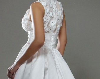 White Satin And Lace Gown