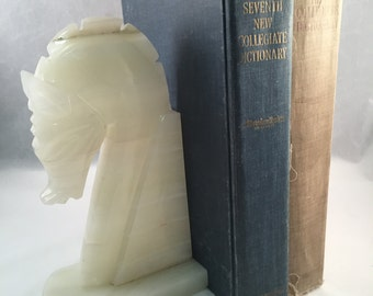 Carved White Stone Horse Bookend (1)