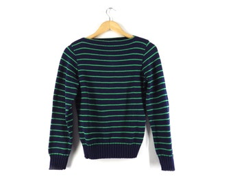 80s Nautical Boatneck Sweater - Navy Blue and Kelly Green - Cotton Pullover Jumper - USA Made - Preppy Beach Hipster - Small S