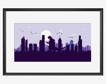 Melbourne Skyline Print, Melbourne print, Melbourne art, Melbourne Australia, Monster print, Godzilla inspired, Godzilla nursery, men gift