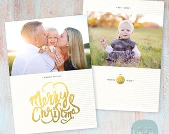 SALE NOW ON Gold Holiday Card Template - Photoshop template - Ac039 - Instant Download