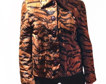 Versace Tiger animal print cropped faux fur  jacket
