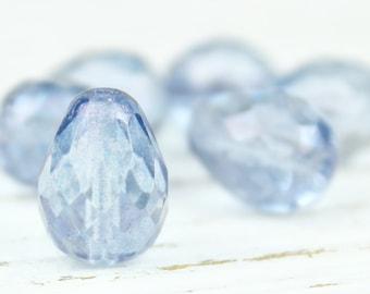 Czech Glass Light Dusty Blue Lustre Faceted Teardrop Beads, 10x13mm, 6 Beads