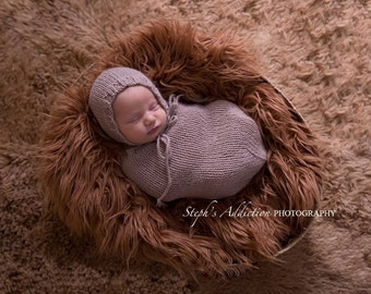 Newborn Photography Prop Swaddle Sack/Hat, Newborn Snuggle Sack/Baby Cocoon, Baby Photo Prop Snuggle Sack, Snuggle/Swaddle Sack Photo Prop