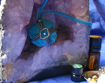 Personal Medicine Bag-Handmade in Turquoise Suede