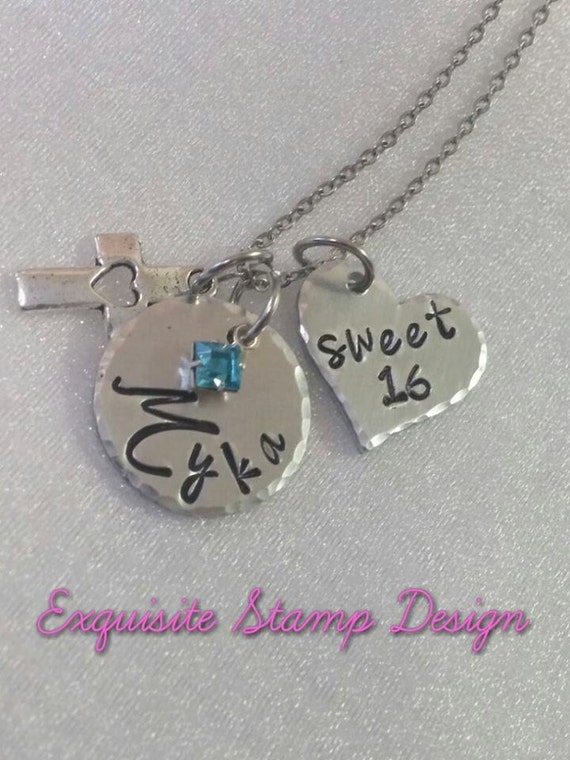 Sweet 16 Necklace - Hand Stamped Jewelry - Birthday Necklace - Personalized - Name Jewelry - Birthstone - Sweet 16 Gift - Special Occasion