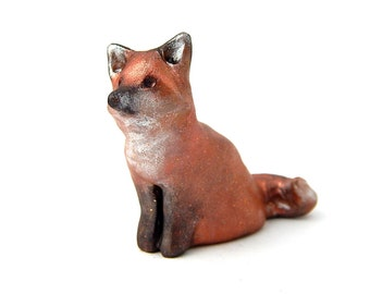 Eager Red Fox Sculpture, Hand-Sculpted Miniature Fox Figurine, OOAK Polymer Clay, Fairy Garden, Terrarium
