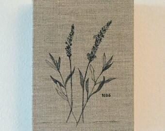Pen & Ink on Linen No. 6: Lavender