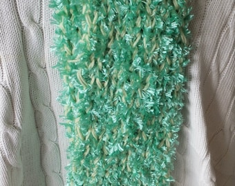Fluffy mint green and lemon scarf