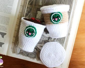 Starbucks Coffee Plush! Starcutes Buddies Play Food Crochet Food Starbucks Amigurumi!! Original gift!