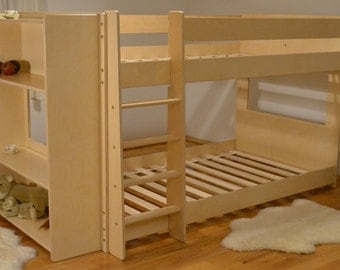 Mid bunk bed with shelves