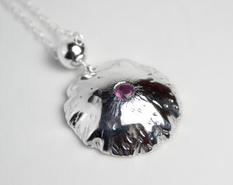 Sterling Silver Crinkled Domed Pendant with Flush Set Ruby on a Sterling Silver Chain