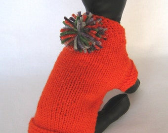 XSmall - YELLOW DOG SWEATER - Heavy Hand Knitted Dog Sweater - Orange Puppy Sweater with Pom Pom - Handknit Pet Coat