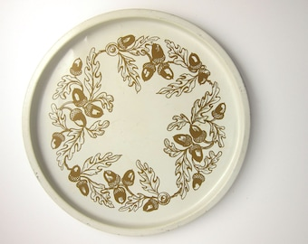 Vintage Round Shabby White and Gold Toleware Acorn Metal Serving Tray