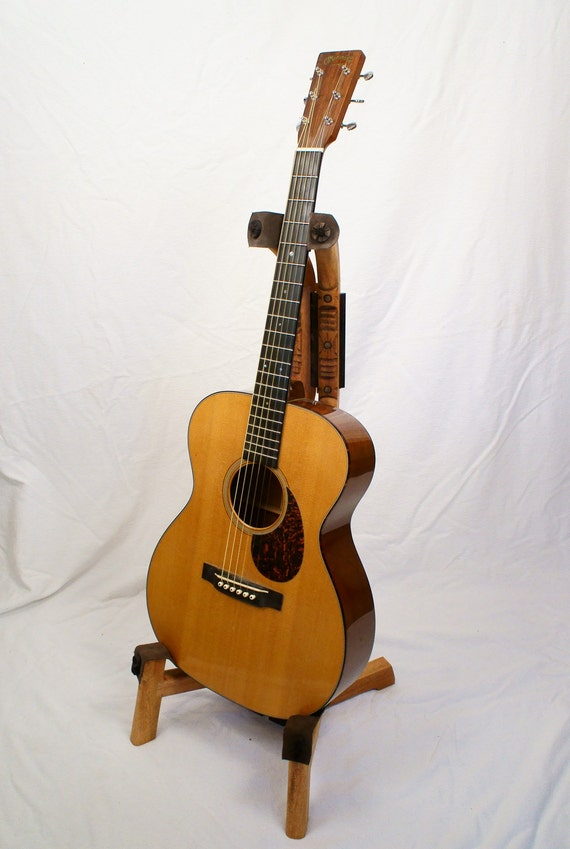 Mahogany custom wooden guitar stand with southwest hand carved