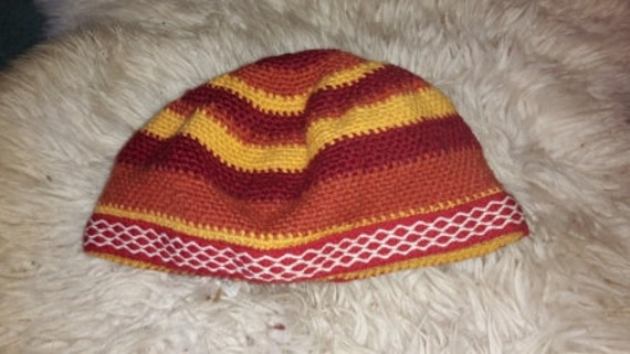 Orange, Red and Yellow 100% Wool Nalbinded Hat