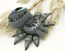 spider, soft toy, toy spider, gray, grizzle, grey  , plush spider,   spider felt, soft sculpture, night, night sky, stars