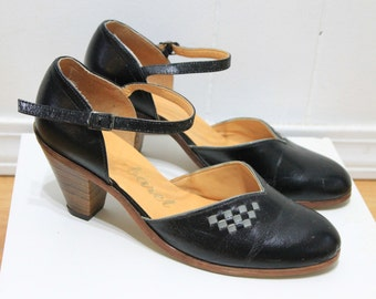 Vintage 1960s Black Leather Heels with checker detail and ankle strap - CABARET