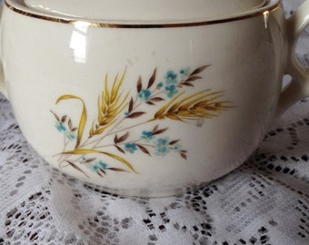 Free Shipping Vintage Mid-Century Sugar Bowl with Lid Wheat Blue Flower Pattern
