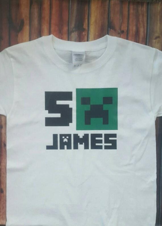 Mine craft birthday tee shirt boys girls by simplymadevinyl for American girl t shirt craft
