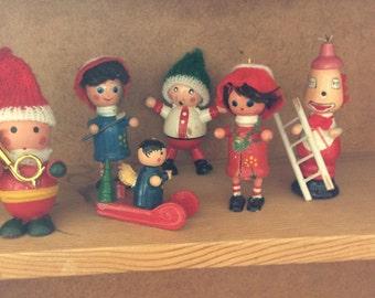 Vintage 1960s Christmas Elf Figues