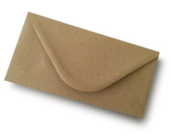 Pack of 10 110mm x 220mm DL size Kraft Paper Envelopes - Vintage wedding Envelopes
