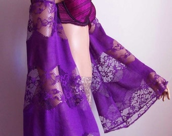Women's Sleeves, Lace, Dance, Party, Extra Long Arm Warmers, Violet, Lolita, Gothic, Goth, Victorian, Dark Vampire. IDEAL for HER