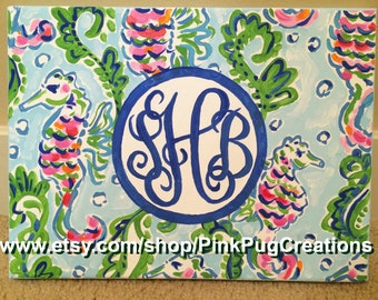 Lilly Pulitzer Inspired Seahorse Painting with Monogram