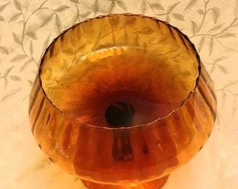 Vintage 60s amber pedestal bowl