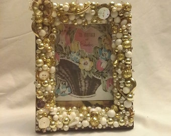 CLOSING SHOP Vintage jewelry jeweled picture frame in whites and golds